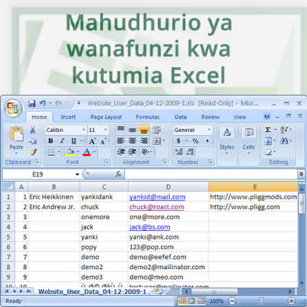 Mahudhurio ya wanafunzi kwa kutumia excel